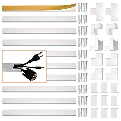 Cable Management Kit by Subtle Home Pro - Raceway Cover with Pre-Applied Adhesive Easily Installs on Wall or Desk - White Paintable Concealer and Organizer Channel Routes Your Home or Office Cords