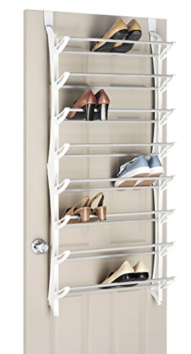 Whitmor Over-The-Door Shoe Rack 24-Pair White