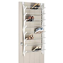 Whitmor 6486-1754-WHT 24-Pair Over The Door Shoe Rack, White