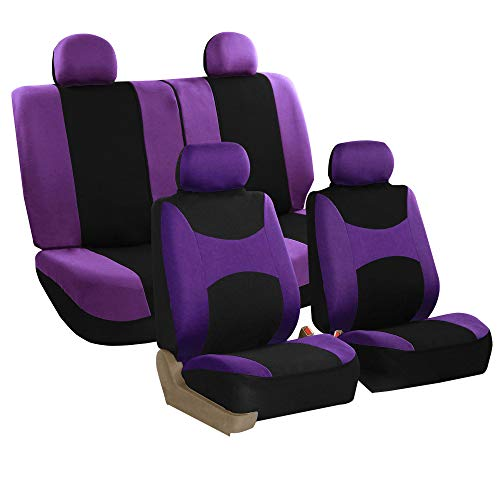 FH Group Stylish Cloth (Airbag & Split Ready) Full Set Car Seat Covers, Purple/Black- Fit Most Car, Truck, SUV, or Van