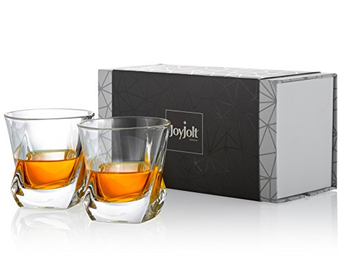 al Whiskey Glasses, Old Fashioned Whiskey Glass 8.10 Ounce, Ultra Clear Crystal Scotch Glass for Bourbon and Liquor Set Of 2 non-leaded crystal Glassware ()