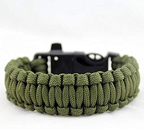 Survival Bracelet Emergency Pack of 2, Green Boating Camping Outdoor Activities SENRISE Multifunction Paracord Bracelet with Whistle Survival Gear Kit for Hiking