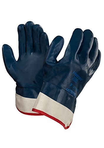 Ansell Cotton Gloves (Ansell 27805 Hycron 27-805 Nitrile Coated Safety Cuff Gloves, 10.5