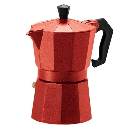 Oggi 6570.2 3 Cup Cast Aluminum Stovetop Espresso Maker, Red (Aluminum Espresso Pot)
