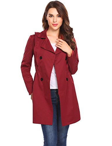 (Women Double Breasted Trench Coat with Belt Mid Length Overcoat Wine Red S)