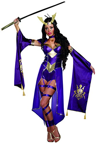 The Real Mortal Kombat Halloween (Dreamgirl Women's Mortal Samurai Video Game Romper Costume, Purple,)
