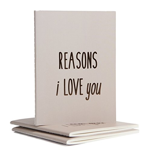 Reasons I Love You & Reasons I Want to Marry You Journals - Letterpress & Foil Stamped Notebook - Best Anniversary, Bride & Groom Wedding, Engagement, or Proposal Gift (Reasons I Love You)