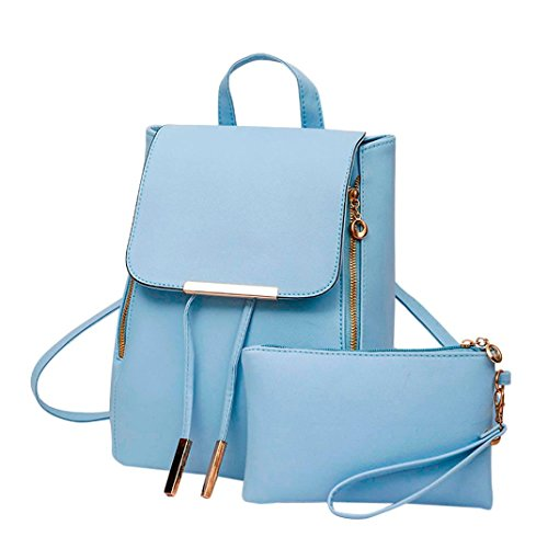 Outsta Girls Leather Backpack, 2Pcs Fashion Women Travel School Handbag Clutch Bag Lightweight Classic Basic Water Resistant Backpack Toddler School Bag Unisex (Blue) by Outsta