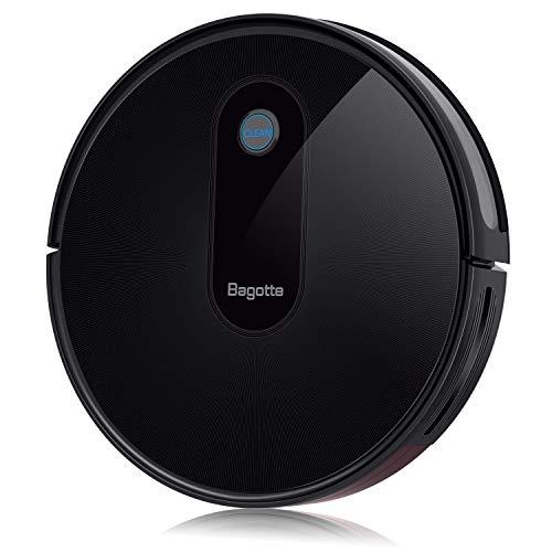 Bagotte BG600 Robot Vacuum Cleaner, Slim & Quiet, 1500Pa High Suction, Smart Self-Charging Robotic Vacuum Automatic Sweeper for Pet Hair, Carpet, Hardwood Floors, Tile