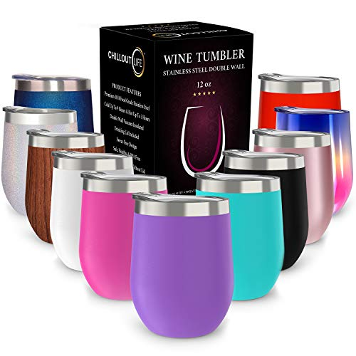 (CHILLOUT LIFE Stainless Steel Tumbler with Lid & Gift Box (Stainless Steel Wine Glass Tumbler) (Purple, 12 oz))