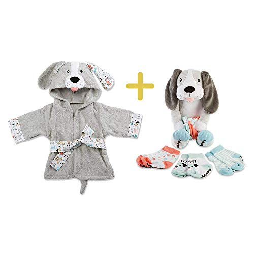 Parker The Puppy Plush Toy & Baby Towel, Baby Aspen 2 in 1 Registry Essentials, Dog Hooded Terry Cloth & Velour Stuffed Animal with Socks, Baby Shower Gift for Babies, Newborn, Infant, Toddlers & Kids