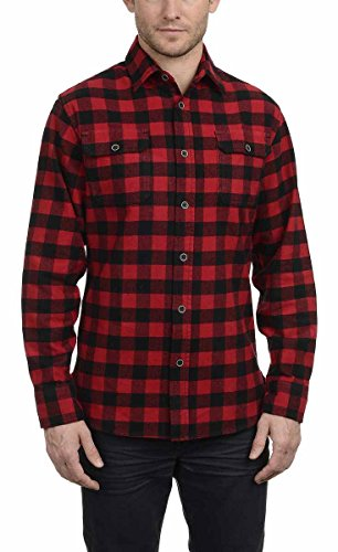 Jachs Men's Plaid Brawny Flannel Button Down Shirt (Red Buffalo Check, Large Tall) (Plaid Primo Flannel)