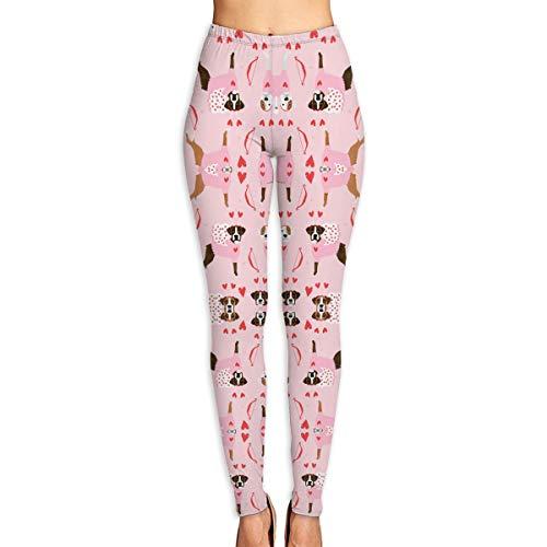 (Boxer Love Bug Cupid Costume Dog Breed Fabric Pink Women Power Flex Yoga Pants Workout Running)