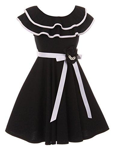 - BNY Corner Big Girl Ruffle Cold Shoulder Graduation Wedding Flower Girl Dress USA Black 10 JKS 2128