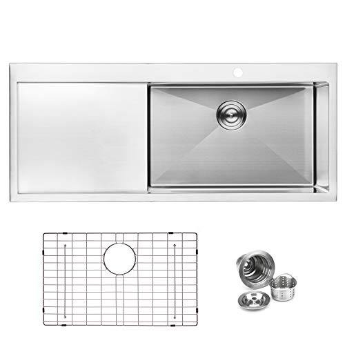 "BAI 1232-48"" Handmade Stainless Steel Kitchen Sink Single Bowl With Drainboard Top Mount 16 Gauge"