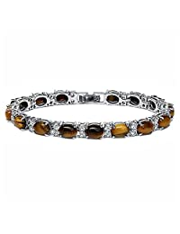 Stunning Brown Tiger Eye Stone And Cubic Zirconia CZ Oval and Round 7 Inch Tennis Bracelet