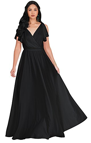 Sleeve Jersey Gown (KOH KOH Plus Size Womens Long V-Neck Sleeveless Flowy Prom Evening Wedding Party Guest Bridesmaid Bridal Formal Cocktail Summer Floor-Length Gown Gowns Maxi Dress Dresses, Black XL 14-16)