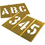 Brass Letter and Number Stencil Set   3 inch Font   Brass Paint Stencils for Pavement and Wall Signs