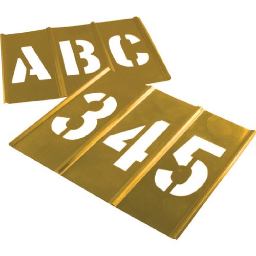 Brass Letter and Number Stencil Set | 3 inch Font | Brass Paint Stencils for Pavement and Wall Signs