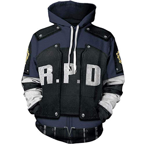 MUCLOTH Leon Kennedy RPD Adult Pullover Hoodie Sweatshirt Halloween Cosplay Costume Unisex (Large)]()