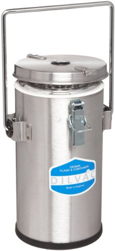 Scilogex SS222 Stainless Steel 2L Cased Dewar Flask, with Vent Handle Lid and Lid Clips