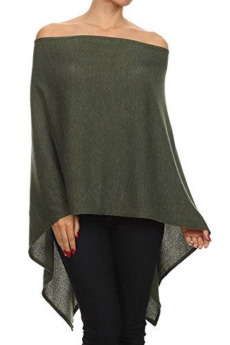 Topper Green - Modern Kiwi Solid Knit Short Asymmetric Wrap Poncho Topper Olive One Size