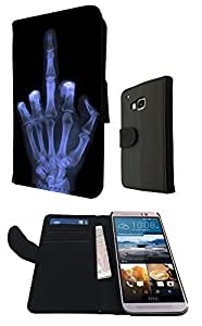 Xray Middle Finger Skeleton Funky Design HTC ONE M9 Fashion Trend Book Style Purse Full Case Flip cover Defender Credit Card Holder Pouch Case Cover Book Wallet TPU Leather by ruishername