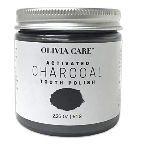 Olivia Care Activated Charcoal Tooth Polish - Whiten Your Teeth The Natural Way - binds to stains on teeth, such as coffee, tea, and wine, to help remove them (Best Way To Whiten Teeth With Activated Charcoal)