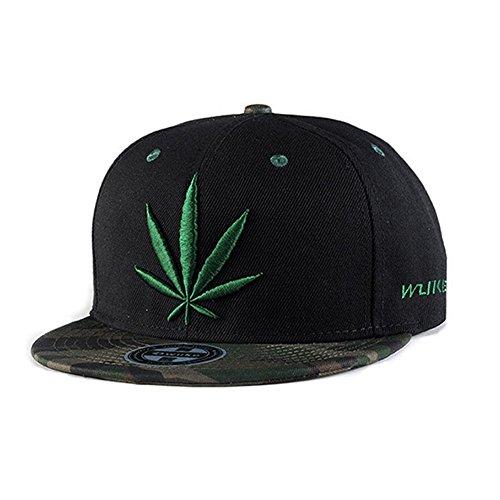 VZBarn Cotton Green Cannabis Hip Hop Hats Black Baseball Caps for Men by VZBarn