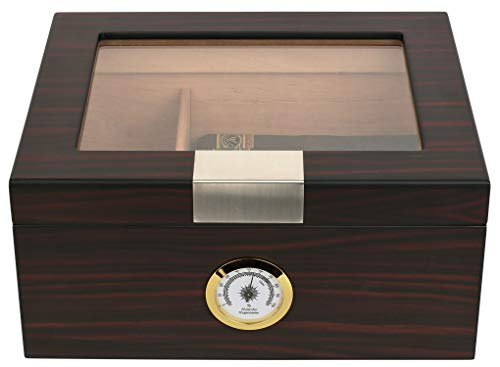 Mantello 25-50 Cigar Humidor with Tray Divider for 2-Way Humidity Packs, Ebony Glass Top