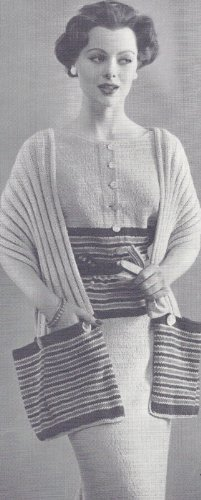 (Vintage Knitting PATTERN to make - Pocket Stole Wrap Shawl Dress. NOT a finished item. This is a pattern and/or instructions to make the item only.)