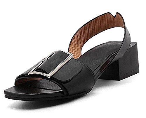 GLTER Mujeres Peep Toe Bombas Sandalias Slingback Fashion Square Hebilla Tacón Planas Personalidad Sandalias 40-45 black