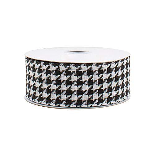 Black White Houndstooth Wired Ribbon - 1 1/2