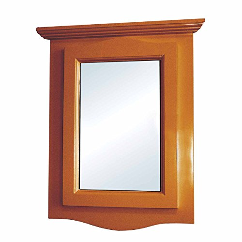 (Corner Bathroom Medicine Cabinet Wall Mounted with Mirror Golden Oak Hardwood Pre-Assembled with Middle Shelf and Mounting Hardware Renovator's Supply)