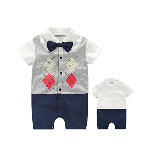 Fairy Baby Newborn Boy's Gentleman Romper Outfit With Bow Tie