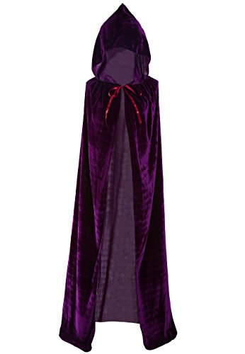 Unisex Halloween Cloak Hoodie Velvet Vampire Witch Devil Cape Cosplay Costume Purple 59