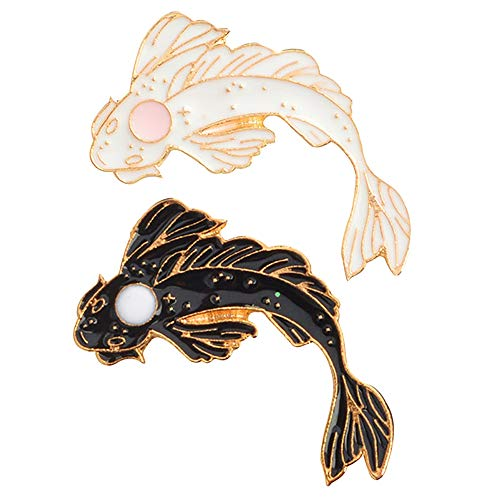 (SODIAL 2Pcs Yin-Yang Fish Brooch Badges Enamel Pin Black White Pink Carp Koi Brooches Badges Japanese Fish Jewelry Costume Cute Brooch Xz1321/Xz1323)