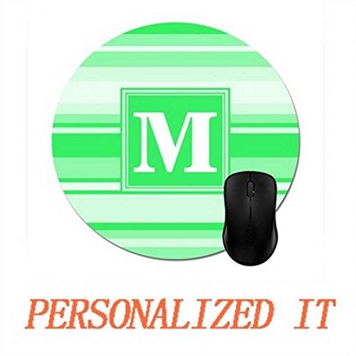 Monogram Spring Green Stripes Mouse Pad Trendy Office Desk Accessory 8