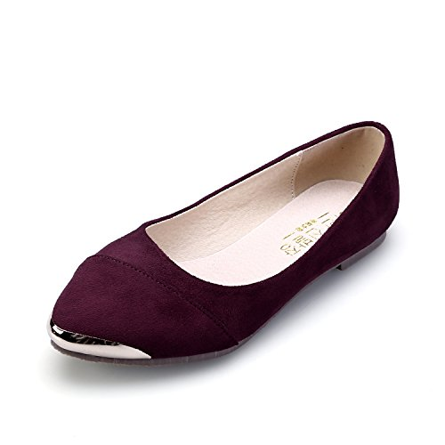 Smilun Women's Ballerina Flat Classic Ballet Flat Shiny Metalic Pointed Toe Burgundy