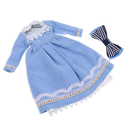 Prettyia 1/6 Scale Dress Hairclip Set Accessory for Blythe Azone Licca Doll Light Blue