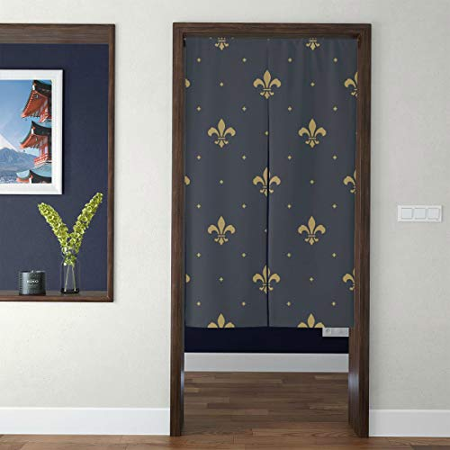 Japanese Style Tapestry Noren Door Hallway Kitchen Bedroom Curtain Lily Flower Symbol Board Floral Design Royal Weapon French Logo Culture 3d Print Long TypeFeng Shui Geomancy Home Custom Curtain