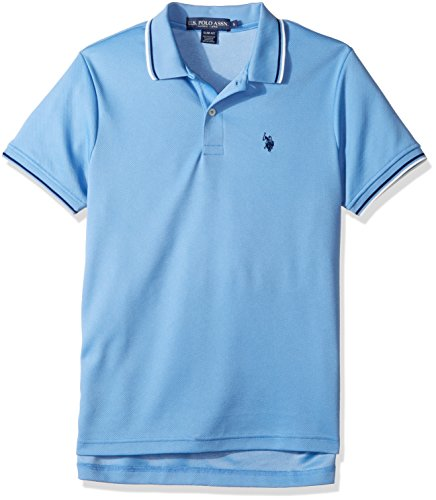 Lake Short Sleeve Shirt - U.S. Polo Assn. Men's Slim Fit Solid Short Sleeve Poly Polo Shirt, Spring Lake-8618, Large
