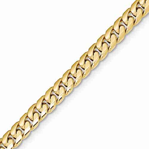 14k Gold Solid Curb or Cuban Chain Necklace with Lobster Clasp (5.4mm)