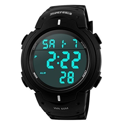 Carrie Hughes Men's Digital Sports Watch Waterproof LED Screen Large Face Military Luminous Stopwatch Alarm Army Outdoor Watch Black CH123 (CH289)
