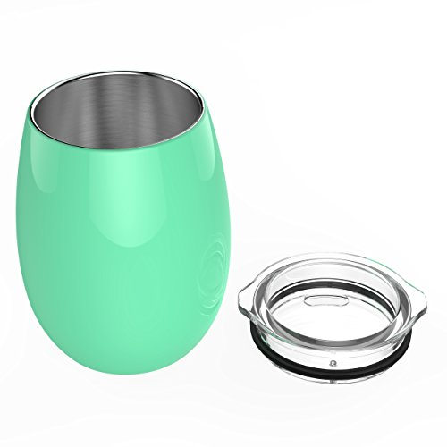 Unbreakable Stemless Wine Glasses for Women | Insulated Lowball Wine Tumbler by Revel Gifts | Stainless Steel Wine Glass with Lid | Great Christmas Gifts for Women (Mint Green) (Great Wine Gifts)