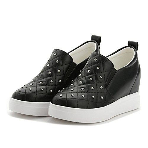 Giy Damesmode Cz Lage Top Sneaker Platform Dikke Bodem Verhoogde Hoogte Wedge Casual Sportschoenen Zwart