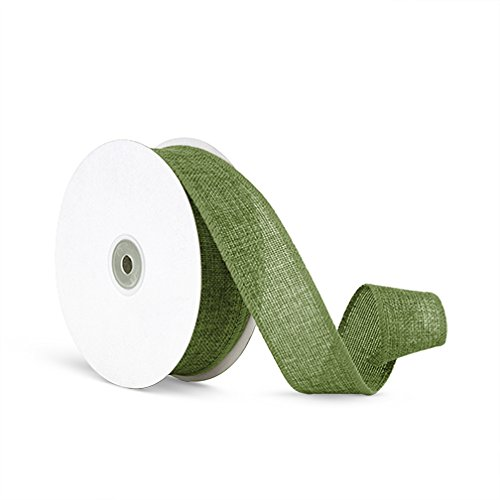 Craft Faux Burlap Jute Wired Ribbon, 1.5 Inches by 25 Yards - Moss