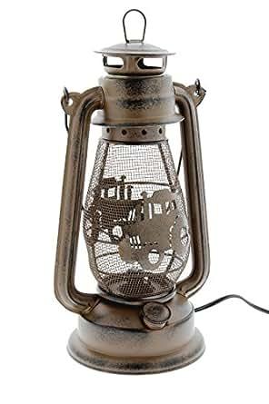 """MayRich 12"""" x 7"""" Rustic Metal Mesh Electric Lantern (Farm Tractor)"""