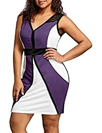 859b30b1dc7 Women Patchwork Plus Size Bodycon Sleeveless Party Business Style Mini Dress