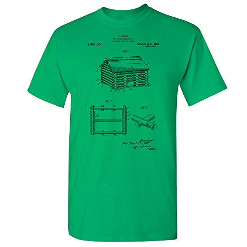 Lincoln Logs T-Shirt, Architecture Gift, Toy Maker, Building Toys, Uncle Toms Cabin, Construction Toys, Wooden Block Irish Green (Large) from Patent Earth
